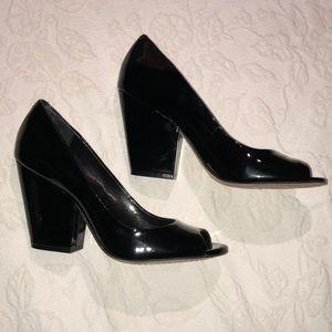 Vince Camuto Black Patent Peep-toes NWOB